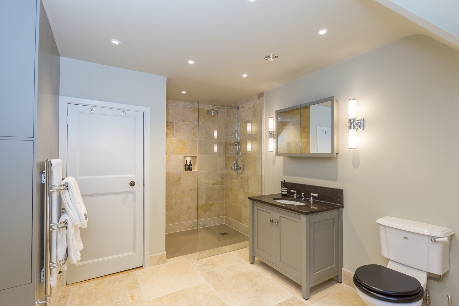White Gold Honed Limestone Bathroom